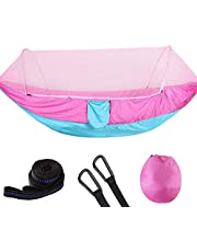 Tmtop Double Portable Camping Travel Hammock Hanging Bed with Mosquito Net (Gray+Orange)