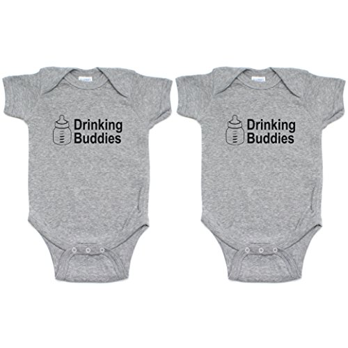 Crazy Baby Clothing Milk Drinking Buddies Twin Set Short Sleeve Infant Bodysuit 3-6M, Gray