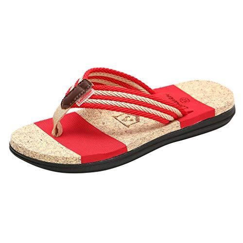 haoricu Women's Thong Sandals Couples Casual Flat Flip Flops Men Slippers Beach Striped Shoes Red
