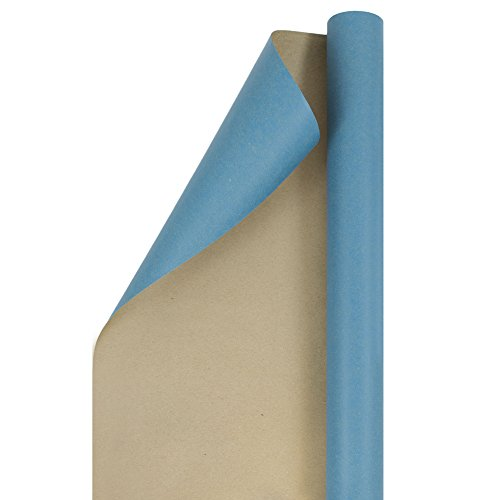 JAM PAPER Gift Wrap - Kraft Wrapping Paper - 25 Sq Ft - Blue Kraft Paper - Roll Sold Individually