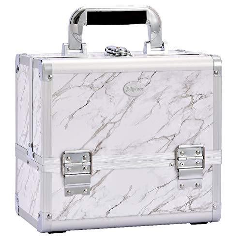 maletin profesional para maquillaje marmol blanco Joligrace