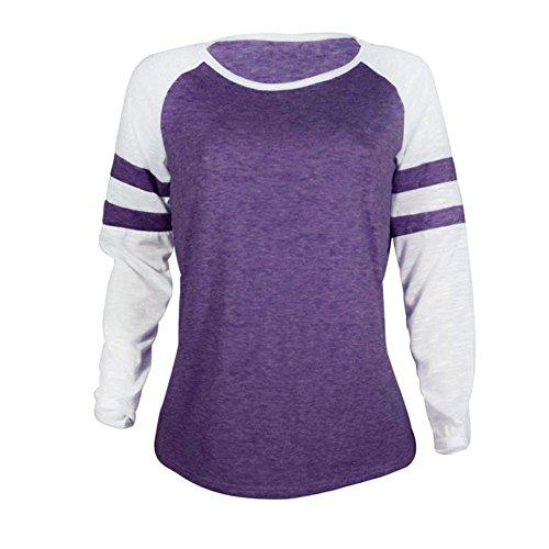 Shirt Femme Lonshell Chemisier Mesdames Violet Chemisier Vtements Tops T pissage Patchwork Pdww1yczq