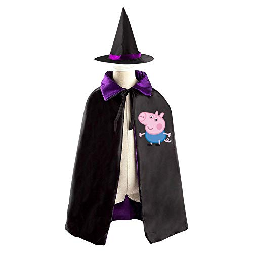 Cosplay Hiccup Costumes (Pig-G-eorge Christmas Halloween Costumes Cape for Kids, Cosplay Party Cloak With Hat Witch)
