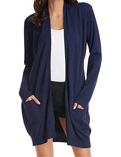 - GRACE KARIN Long Sleeve Open Front Casual Knit Cardigan Sweaters Draped Kimono Navy XL