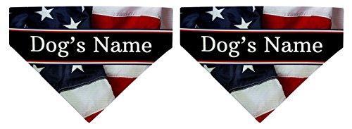 Custom Dog Gifts Patriotic Dog Bandana Big Dog Bandana 2-Pack Personalized Scarves Dogs Bibs USA ()