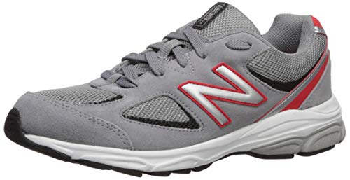 New Balance Boys' 888v2 Running Shoe, Steel/Velocity RED, 5 M US Big Kid