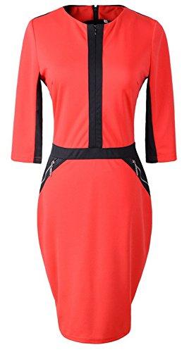 U-Shot elegante de la mujer con cremallera frontal OL Partido Túnica Lápiz Vestido de Slim Rosso