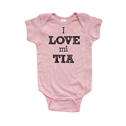 (Apericots I Love MI Tia Spanish My Aunt Cute Short Sleeve Baby Bodysuit,Light Pink,Newborn)