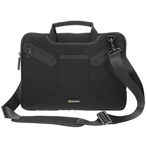 Microsoft Surface Book 13.5 inch Messenger Bag, Evecase Ultra Portable Neoprene Messenger Briefcase Shoulder Tote Bag with Handle and Accessory Pocket - Black