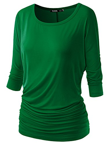 (TWINTH Womens 3/4 Sleeve Dolman Drape Top with Side Shirring Loose Fit Tunic Top Plus Size Green XX-Large )