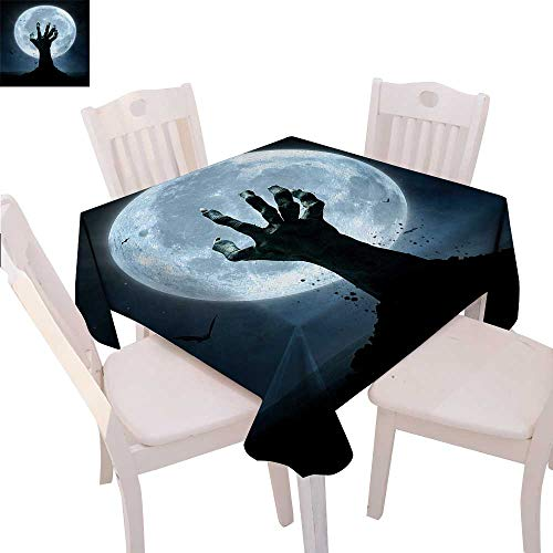 Halloween Printed Tablecloth Realistic Zombie Earth Soil Full Moon Bat Horror Story October Twilight Themed Flannel Tablecloth 70