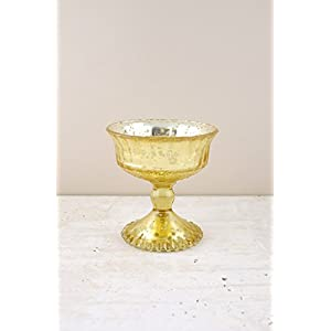 Mercury Glass Compote Gold 4.5in - Excellent Home Decor - Indoor & Outdoor 17