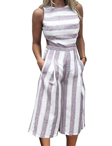 FANCYINN Women Stripe Print Zipper Backless Long Jumpsuit Playsuit Wide Leg Casual Style Wine Red S