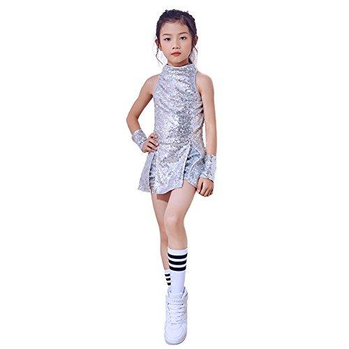 Children Girls Sequins Jazz Dance Costume Stage Performance Clothing Set (Silver, (Street Dance Costume)