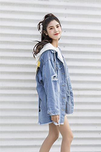 Giacche Tasche Invernali Removibile Donna Vintage Giacca Anteriori Outdoor Cappuccio Digitale Cerniera Lunga Cappotto Blau Strappato Stampato Con Jacket Coulisse Jeans Manica wvZvgAq4X