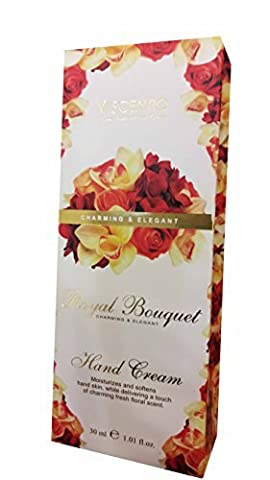 2 packs of SCENTIO Royal Bouquet Charming & Elegant Hand Cream. Moisturizes and softens hand skin, While delivering a touch of charming fresh floral scent. (1.01 fl.oz./ pack)