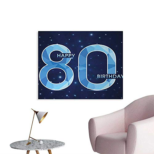 Tudouhoho 80th Birthday The Office Poster Diamond Age 80 Yeras Old Happy Birthday Party Theme with Stars Photographic Wallpaper Navy Blue and Sky Blue W48 -