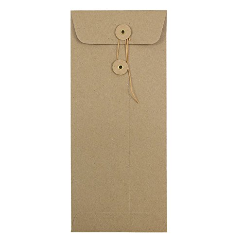 JAM Paper #10 Policy Envelopes with Button and String Tie Closure - 4 1/8