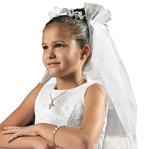 Holy Communion Tiaras (Religious Gift Catholic Girls Holy First Communion Elegant Tiara Silk Floral 25 Inch Mesh)