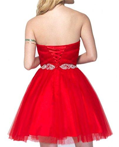 Charmant Damen Attraktive Rot Herzausschnitt Traegerlos COcktailkleider Promkleider Partykleider Kurz Mini