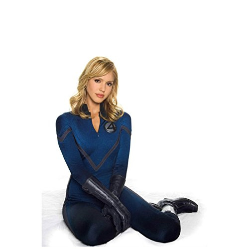 Fantastic Four (2005) 8 inch by 10 inch PHOTOGRAPH Jessica Alba Full Body Seated on Floor White Background - Alba Floor
