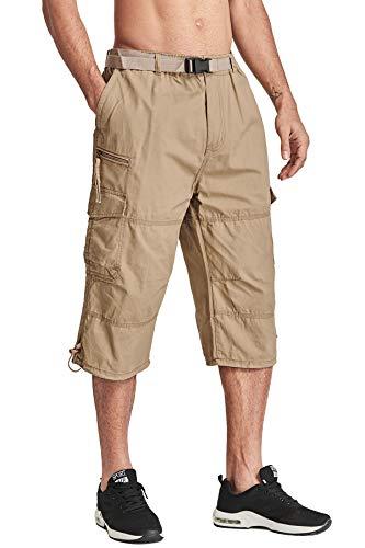 TACVASEN Men's Tactical Combat Twill Cargo Long Shorts Outdoor Wear Lightweight Khaki