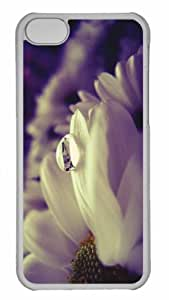 Customized iphone 5C PC Transparent Case - White Daisy Petals Macro Personalized Cover