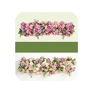 Custom 1 m Wedding Backdrop Arch Decor Artificial Flower Row Decor Flower Arch Road Lead Flower Arrangement Silk Flower Wall 1pc 31