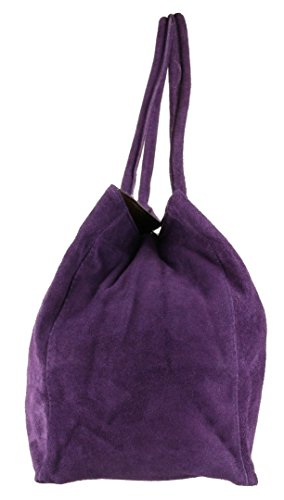 Dark Leather Purple Suede HandBags Italian Bag Girly Shoulder Expandable UPq077wT