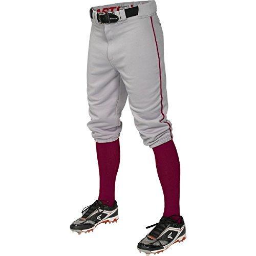 - Easton Pro+ Piped Knicker Baseball Pant - Gray Maroon Gray Maroon / M