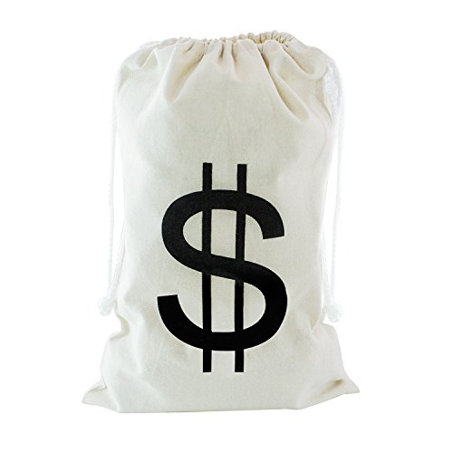 Casino Themed Costume - Large Canvas Natural Money Bag Pouch with Drawstring Closure and Dollar Sign Design for Toy Party Favors, Bank Robber Cowboy Pirate Theme, Carrying Case Sack