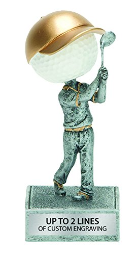 Resin Bobblehead Golfball Trophy - Golf Ball Award