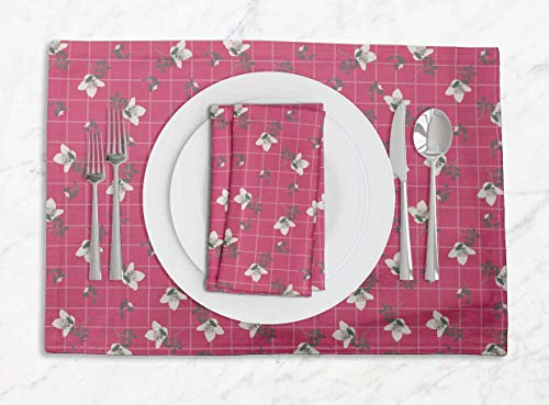 S4Sassy Pink Check & Cardamine Floral Printed Dining Room Reversible Tablemats with Napkins Set ()