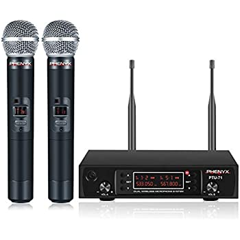 wireless microphone system phenyx pro vhf cordless mic set with 2 handheld mics. Black Bedroom Furniture Sets. Home Design Ideas