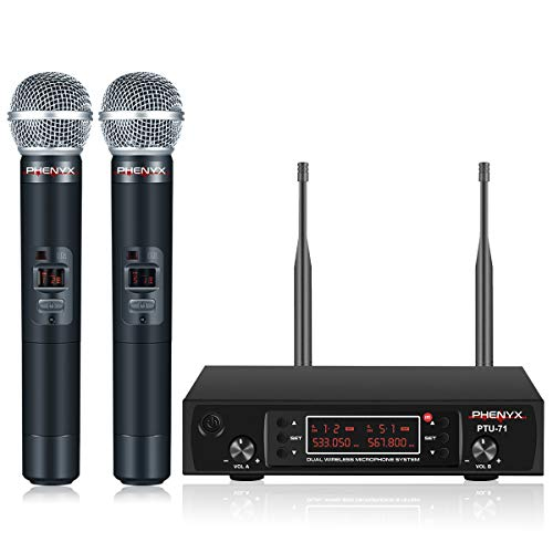 (Wireless Microphone System, Phenyx Pro PTU-71 Dual UHF Cordless Mic Set With Handheld Mics, All Metal, 200 Channels, Interference-free Long Distance Operation, Ideal for DJ, Church, Weddings(PTU-71A))