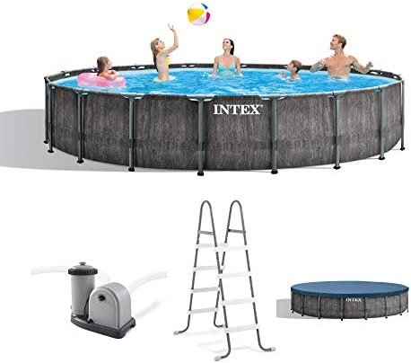 Intex 26743EH 18ft x 48in Greywood Premium Prism Steel Frame Outdoor Above Ground Swimming Pool Set with Cover, Ladder, Pump