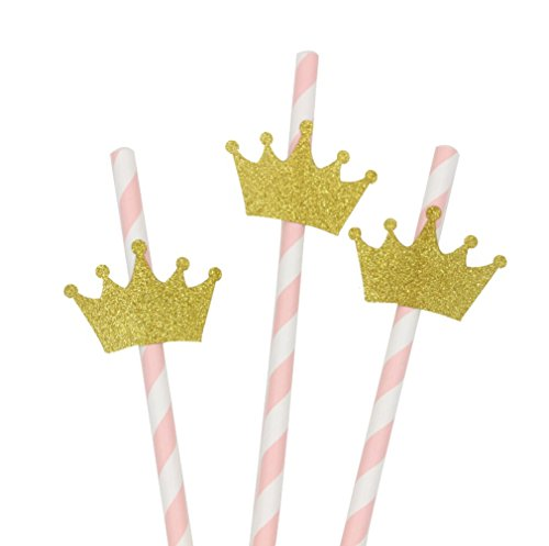 parmay-light-pink-straws-and-crown-topper-for-girl-birthday-decoration-pack-of-50-sets