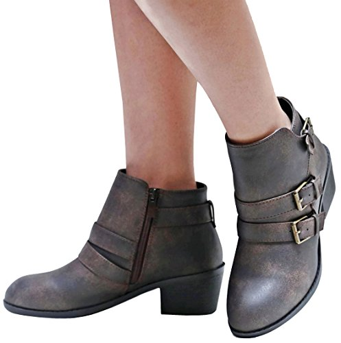 Boots Brown Booties Ankle Buckle Western Eu4 Women Heel Low Forever znT6O8