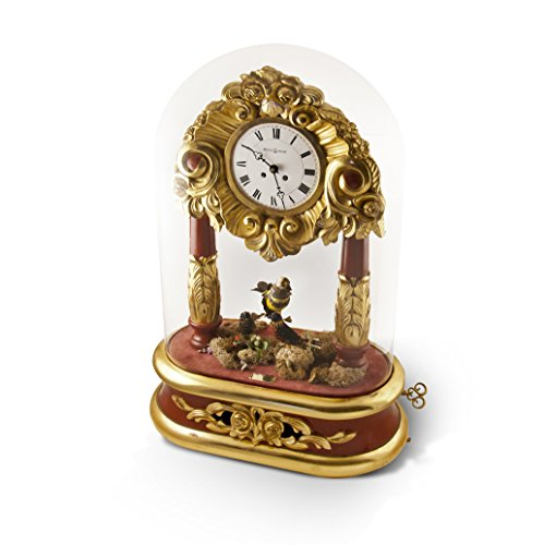 Extraordinary and Extremely Rare REUGE Automaton Singing Bird Trio Timepiece with Removable Glass Dome