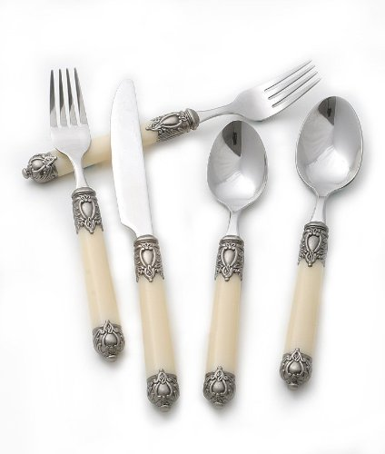 Christmas Tablescape Décor - Hampton Forge San Remo Cream 20-Pc Flatware Set, Service for 4