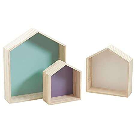 Mensole Colorate In Legno.Serie Di 3 Mensole A Forma Di Casa In Legno Colorate Amazon It