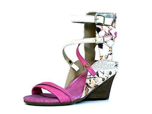 Laura Vita Damen Pumps/Sandaletten rot-kombi (pink) BENNY 01 Rot-Kombi