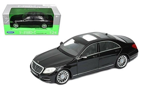 New 1:24 W/B WELLY COLLECTION - BLACK 2014 MERCEDES-BENZ S CLASS Diecast Model Car By Welly