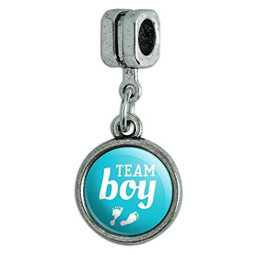 Blue Footprints Italian - Team Boy Baby Blue Footprints Italian European Style Bracelet Charm Bead
