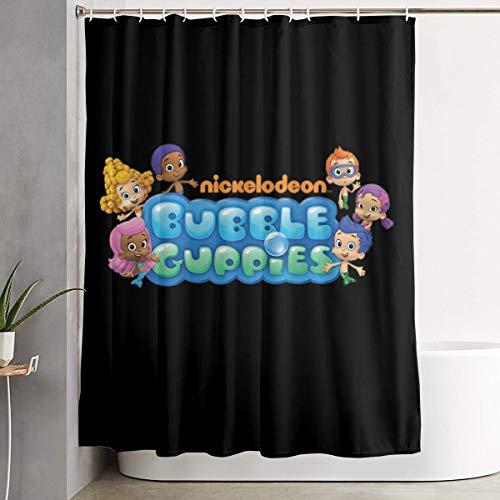 Shower Curtain, Bubble Guppies Logo Bathroom Fabric Curtains Tub Large Bath Curtain Set with Rings