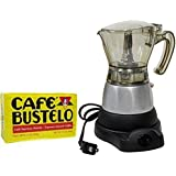 Electric Espresso Coffee Maker 1 to 3 Cups. 10 oz Bustelo Espresso Coffee Pack Included