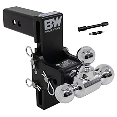 B&W TS20049B Tow and Stow Receiver Hitch Tri-Ball with 2.5in Shank 7in Drop 7.5in Rise Plus 5/8in Black Receiver Lock: Automotive