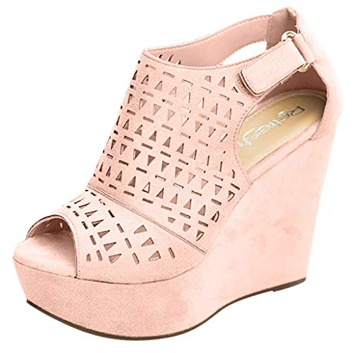 Womens Wedge Sandals, Adjustable Ankle Strap Comfort Platform Sandal, Casual Hollow Open Toe Sandals Dress Shoes Pink
