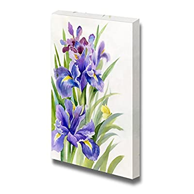 Canvas Prints Wall Art - Watercolor Flower Collection Irises - 48