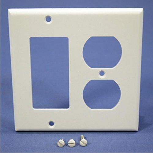 Gang Duplex Outlet (Leviton 80455-W 2-Gang 1-Duplex 1-Decora/GFCI Device Combination Wallplate, Standard Size, Thermoset, Device Mount,)